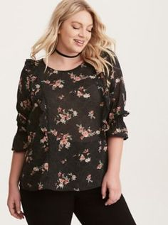 Floral Dot Print Ruffled Smocked Bell Sleeve Top in Black/Red