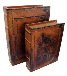 2x Schatulle Windmühle Holz Buchattrappe Box Kästchen Etui Buch antik Stil book
