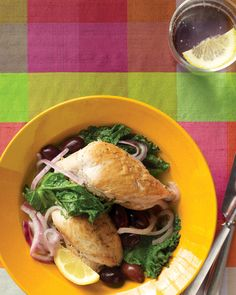 Chicken w mustard greens -- simple way to use the only greens in our garden that the critters haven't eaten.