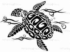 Tortue Tribal - Stickers muraux d'une belle tortue marine nager dans la mer