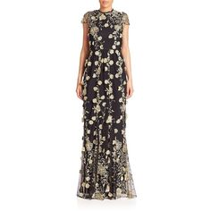 Alice + Olivia Aaliyah Embroidered Gown ($1,035) ❤ liked on Polyvore featuring dresses, gowns, apparel & accessories, lace cap sleeve dress, cut out dresses, cap sleeve gown, embroidered dress and lace dress