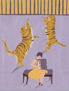 Tigres et accordéoniste cirque giclée par naomiwilkinson sur Etsy