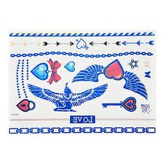 OOFAYZBL 1pc Flash Metallic Waterproof Tattoo Blue Gold Silver India Wing Lock Key Temporary Tattoo Sticker BYH-004. Tattoo sticker use green ink and glue, is harmless to human body. Paste the successful design with waterproof and sweat-proof function, will not fall off in the shower, but do not rinse with hot water for too long, should not be rubbed with. Different parts of the pattern paste, duration of different patterned after 3-5 days began to fall under normal usage conditions, feet...