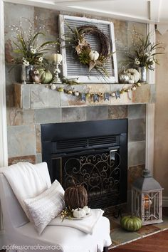 85 Best Pictures Stunning Fall Mantel Decor Ideas To Inspire You 1030 – Farmhouse Fireplace Mantels Fall Fireplace Decor, Fall Mantel Decorations, Mantel Ideas, Slate Fireplace, Mantels Decor, Stone Mantle, Brick Fireplaces, Fireplace Update, Farmhouse Fireplace