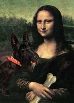 Scottish Terrier with Mona Lisa