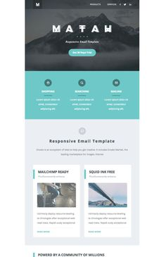 20 Email Newsletter Examples to Get New Ideas for Your Design - Email Marketing Inspiration - - Email-Newsletter-Examples-matah-responsive-email Newsletter Design Templates, Newsletter Layout, Email Layout, Email Template Design, Email Newsletter Design, Email Newsletters, Email Templates, Edm Template, Web Layout