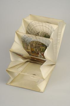 Lane's Telescopic View: The Ceremony of Her Majesty Opening the Great Exhibition (partially open) by Hopkins Rare Books, Manuscripts, & Archives, Origami, Altered Books, Altered Art, Pop Up, Libros Pop-up, Tunnel Book, Paper Art, Paper Crafts, Buch Design