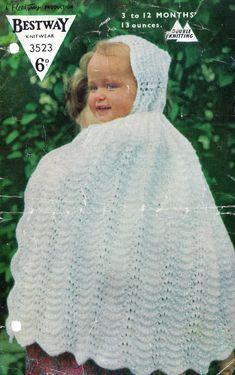 Bestway 3523 baby cape vintage knitting pattern PDF by Ellisadine