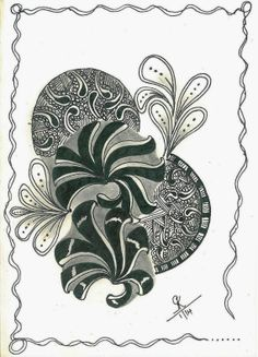 "Doodles 'N' Tangles : Diva's Challenge # 152 - ""Aquafleur"" Doodles Zentangles, Zentangle Patterns, Doodle Inspiration, Doodle Drawings, Repeating Patterns, Pencil Art, Pattern Art, Tangled, Sketching"