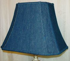 Denim lamp shade - try this with a little girl's denim skirt