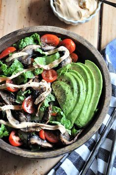 """An easy and quick bacon, lettuce, and tomato salad that's made with Portobello mushroom """"bacon"""" and a delicious smoky and spicy homemade mayo dressing."""