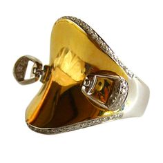 1stdibs - ROBERTO COIN Diamond Gold Horse Saddle / Stirrup Ring explore items from 1,700  global dealers at 1stdibs.com