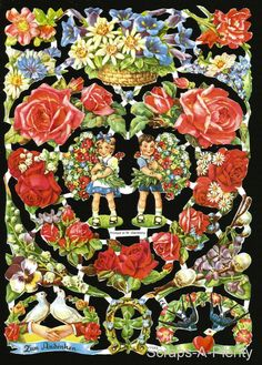 German Victorian Style Embossed Scrap Die Cut Flowers Children Heart EF7023 | eBay