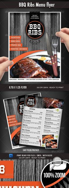 Buy BBQ Restaurant Menu flyer by on GraphicRiver. An elegant 300 dpi CMYK steak house or BBQ restaurant menu flyer (with bleed) ready to print. Very easy to per. Web Design, Food Design, Flyer Design, Email Design, Graphic Design, Menu Bar, Bbq Menu, Menu Layout, Flyer Layout