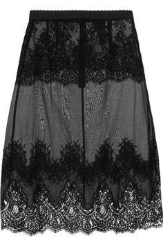 Dolce & Gabbana Lace Paneled Chiffon Slip