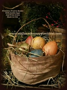 Primitive Prairie Basket With Jumbo Eggs & Prim Grass (Made In USA)