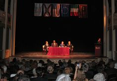 Sarasota Mayor Fredd Atkins and Treviso Province President Leonardo sign the twinning agreement withnessed by SSCA President Bill Wallace and SSCA City Director for Treviso Mirco Chodi on February 29, 2007 on stage of the Historic Asolo Theater at the John & Mabel Ringling Museum of Art