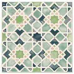 Moorish Tile in Verde Geometric Patterns, Mosaic Patterns, Geometric Art, Textures Patterns, Islamic Art Pattern, Pattern Art, Pattern Design, Motifs Islamiques, Moroccan Design