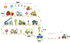 [Saturday Mall - Kid favorite early childhood cartoon car stickers nursery children's room decor mural wall stickers 4085