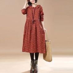 Linen Floral Long Sleeves Orange Dress