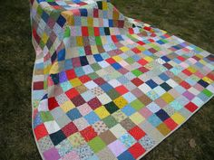 Patchwork Quilt--Square King Size--106X106--Classic Americana--made to order--all cotton blanket.  via Etsy.