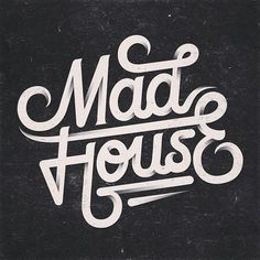 Mad house lettering Instagram photo by @kvmeo Wordmark and logotype typographic design inspiration using curved lettering or modern bold sans serif letters in a black and white branding presentation. ideas for identity created by creative businesses. Cursive script, lettering words and texts from awesome graphic designers.