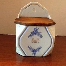 6 Quot Hanging Blue Onion Danube Czechoslovakian Salt Box With