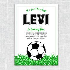 Levi Soccer Birthday Party Invitation 5x7 digital by BeanPress, $15.00