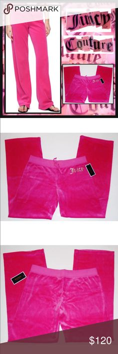 JUICY COUTURE L Pink Glitter Bling Velour Pants JC JUICY COUTURE ORIGINAL BLING VELOUR PANT Condition: New with tags Size: Large Color: Passion Pink Product Details:  Relaxed & comfy track fit Bling glitter gold Juicy logo Wide Leg Juicy Couture Pants Track Pants & Joggers