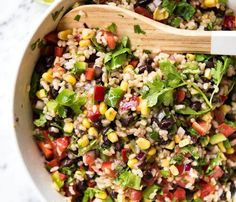 Take a trip out to the wild west with this SouthWestern COWBOY RICE SALAD! Based on the famous Cowboy Caviar, this brown rice salad is filled with bright flavours! Rice Salad Recipes, Salad Recipes Video, Healthy Salad Recipes, Red Rice Salad Recipe, Vegan Recipes, Recipe Videos, Healthy Lunches, Entree Recipes, Easy Recipes