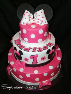 Minnie Mouse Cake 12 for Rylee's Birthday! Minnie Mouse Cake Design, Minnie Mouse Birthday Cakes, Minnie Cake, 40th Birthday Cakes, Mickey Birthday, Minnie Mouse Party, 2nd Birthday, Birthday Ideas, Happy Birthday