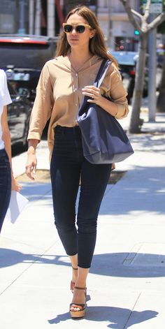 Jessica Alba Rings In Summer with High-Waist Jeans and Towering Wedges from InStyle.com