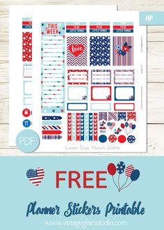 Free Printable Patriotic Planner Stickers from Vintage Glam Studio