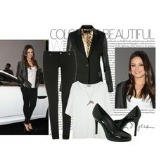 Simple and stylish: black blazer, white top, black skinny jeans, shiny pumps, and gold accessories