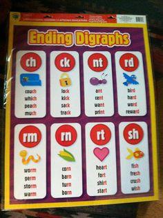 "2 SET Educational Charts ""Beginning Ending Digraphs"" Great Teacher Resource   eBay"