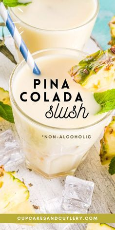 Alcoholic Punch, Non Alcoholic Drinks, Fun Drinks, Cold Drinks, Beverages, Cocktails, Pina Colada Slush Recipe, Pina Colada Mocktail, Slush Recipes