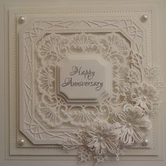 A beautiful card in one colour by Julia WattsInky Finger Zone Sue Wilson, Wedding Anniversary Cards, Happy Anniversary, Wedding Cards, Pretty Cards, Love Cards, Spellbinders Cards, Making Greeting Cards, Embossed Cards