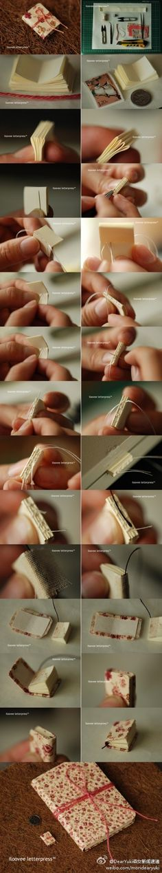 how to make a tiny journal, miniaturas, adornos Book Crafts, Fun Crafts, Diy And Crafts, Arts And Crafts, Paper Crafts, Handmade Books, Handmade Journals, Handmade Rugs, Handmade Crafts