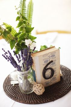simple centerpieces...I like the idea of using a round placemat