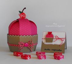 Cute little cupcake box using the Sweet Tooth Boxes Cricut Cartridge and Valentine Cherry Cupcake Trendy Twine  http://staceyscreativecorner.blogspot.com