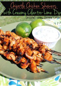 Chipotle Chicken Skewers with Creamy Cilantro Lime Dip | DessertNowDinnerLater.com #chicken #grilled #bbq