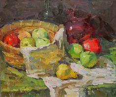 Sunny Apinchapong- studied with Sergei Bongart. Look at the brushwork, wonderful. Painting Still Life, Still Life Art, Paintings I Love, Art Paintings, Still Life With Apples, Still Life Images, Painting Techniques, Impressionist, Oil On Canvas
