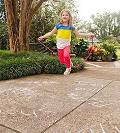 A Jump-Rope Spelling Game: Kids in the elementary grades almost always have spelling lists to memorize and energy to burn. That's why this game is such a brilliant idea. Next time your child comes home with a list to learn, head for the driveway or sidewalk and get a jump on it.