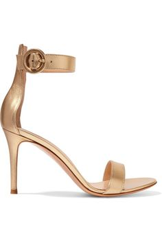 Heel measures approximately 85mm/ 3.5 inches Gold leather Buckle-fastening ankle strap Made in Italy