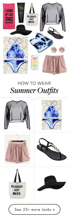 """Collection Of Summer Styles    """"Beach and Relax"""" by ripples101 on Polyvore featuring WithChic, Yves Saint Laurent, IPANEMA, MANGO, Kate Spade and San Diego Hat Co.    - #Outfits"""