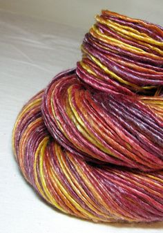 Handspun Yarn Gently Thick and Thin Single Merino and Tencel 'Summer Dusk' on Etsy, $36.00