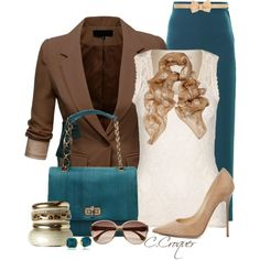 Brown Boyfriend Blazer & Teal, created by ccroquer on Polyvore