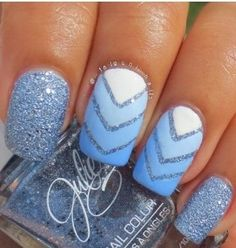 Various blues / White / Silver glitters
