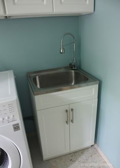 Utility Sink In Laundry Room Add Tile Backsplash To Avoid Paint Splatters And Other Mess Laundry Room Pinterest Tile Sinks And Laundry Rooms