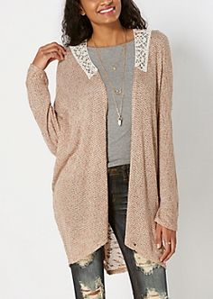 Taupe Crochet Knit Cardigan By Clover & Scout®
